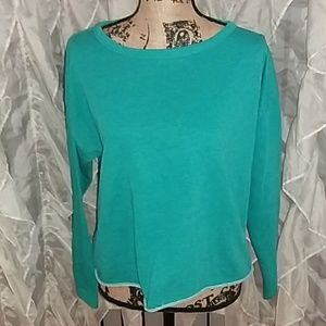 Teal retro open neck sweatshirt. Medium